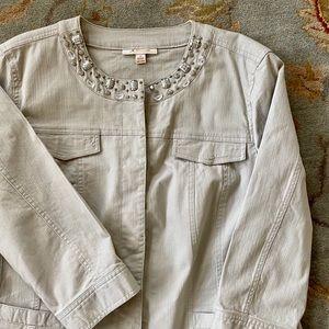 Jacket, beige, denim like fabric